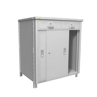 Balcão em aço com gavetas e portas