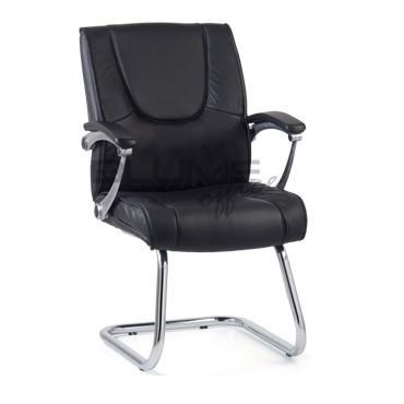 Cadeira de aproximação fixa em couro natural na cor preta BLM 0052F