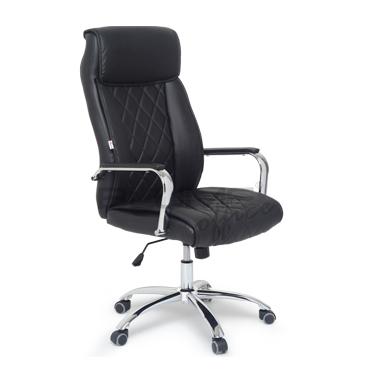 Cadeira presidente com base cromado e almofada em preto ou bege BLM 720P