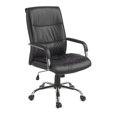 Cadeira presidente em couro com espuma injetada marrom ou preto BLM 107-P
