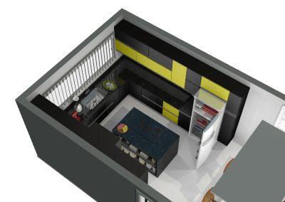 Perspectiva de projeto de móveis planejados