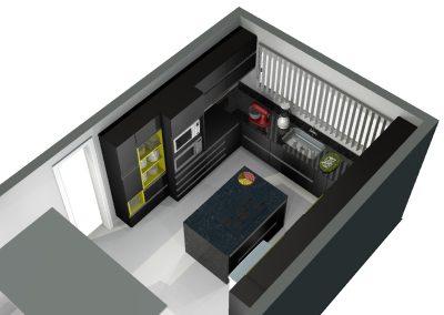 Vista superior de projeto de móveis planejados