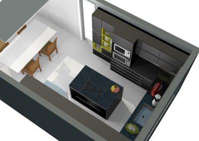 Vista superior projeto de móveis planejados