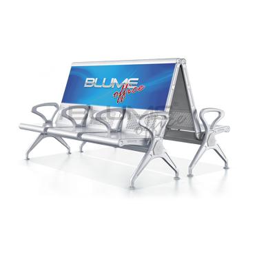 Longarina 3 lugares sem estofamento com estrutura em aço reforçado acompanha painel de acrílico com espaço para publicidade BLM 306B